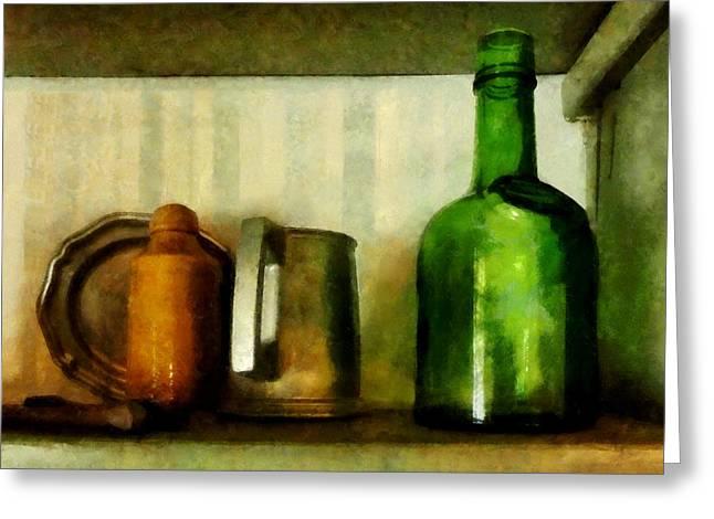 Pewter Mug And Green Bottle Greeting Card by Susan Savad