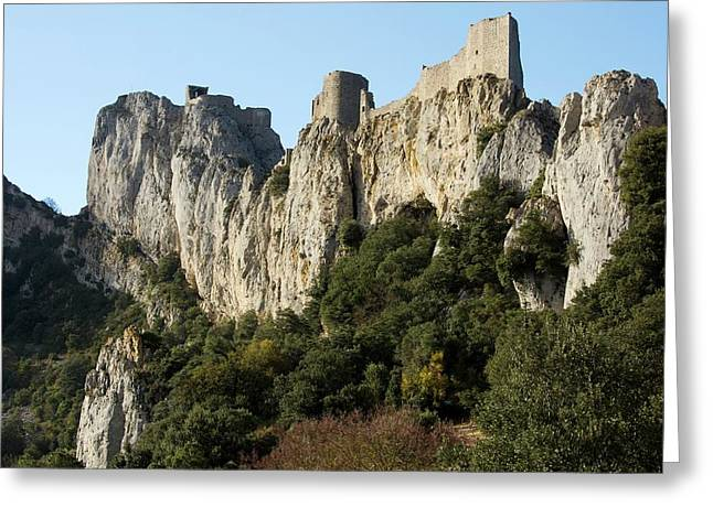 Peyrepertuse Castle Greeting Card by Bob Gibbons
