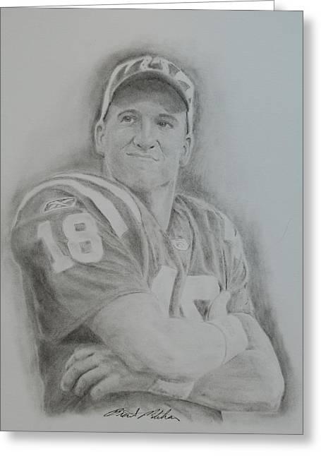 Peyton Manning Greeting Card by Brent  Mileham