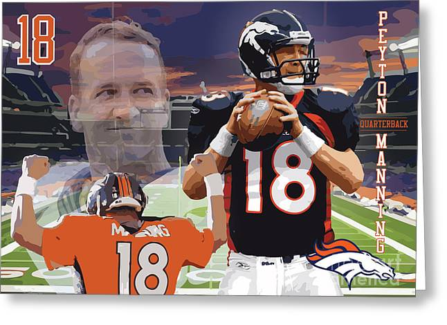 Peyton Manning Greeting Card by Israel Torres