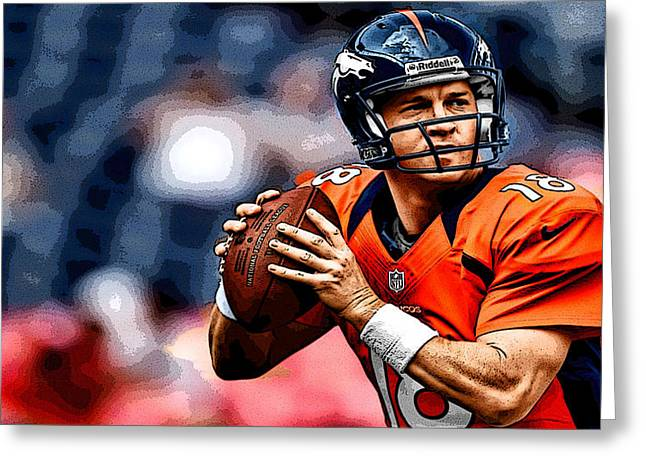 Peyton Manning Greeting Card by Marvin Blaine