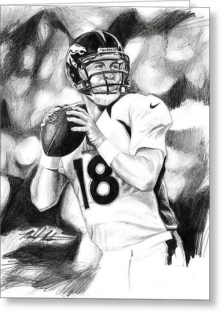 Peyton Manning Greeting Card by Michael Mestas