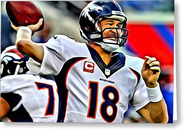 Peyton Manning Throwing The Pass Greeting Card by Florian Rodarte