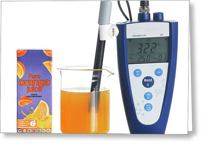 Ph Meter In Orange Juice Greeting Card