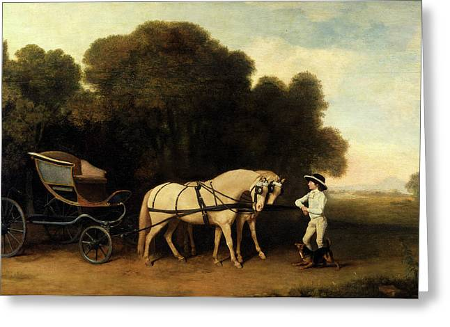 Phaeton With A Pair Of Cream Ponies And A Stable-lad Greeting Card