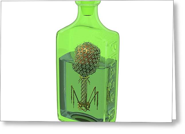 Phage Therapy Bottle Greeting Card by Russell Kightley