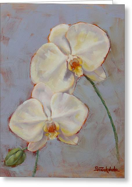 Greeting Card featuring the painting Phalaenopsis Orchid by Margaret Stockdale