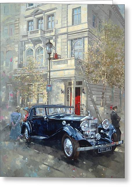 Phantom II Into Queens Gate Mews Oil On Canvas Greeting Card by Peter Miller