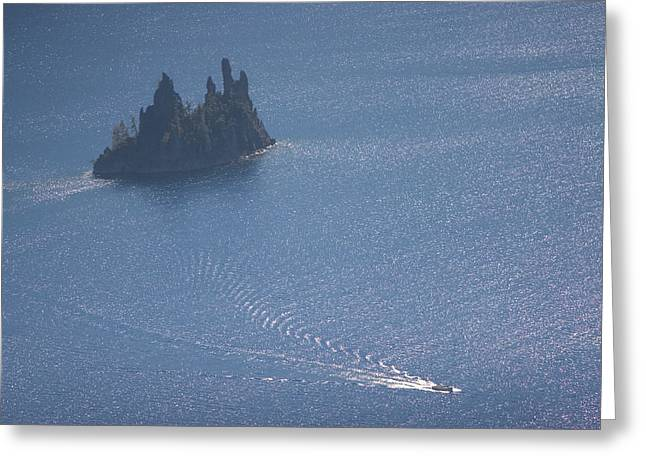 Phantom Ship In Crater Lake In Crater Greeting Card