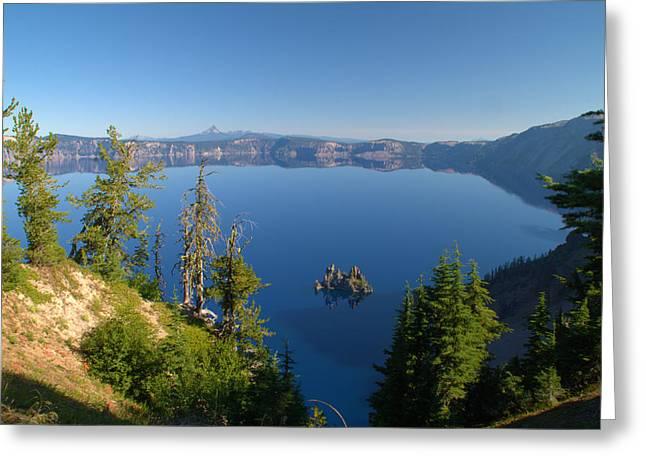 Phantom Ship Island In Crater Lake Greeting Card by Brian Harig