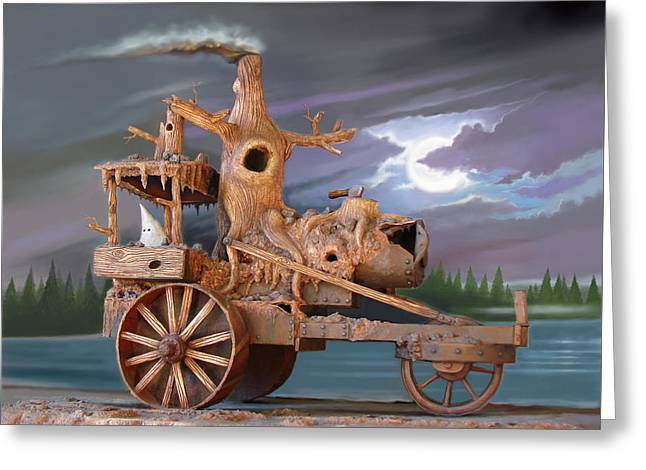 Phantom Steam Tractor Greeting Card by Stuart Swartz