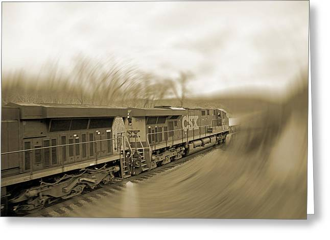 Phantom Train Greeting Card by Betsy Knapp