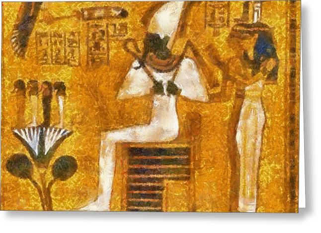 Greeting Card featuring the painting Pharaoh  by Georgi Dimitrov
