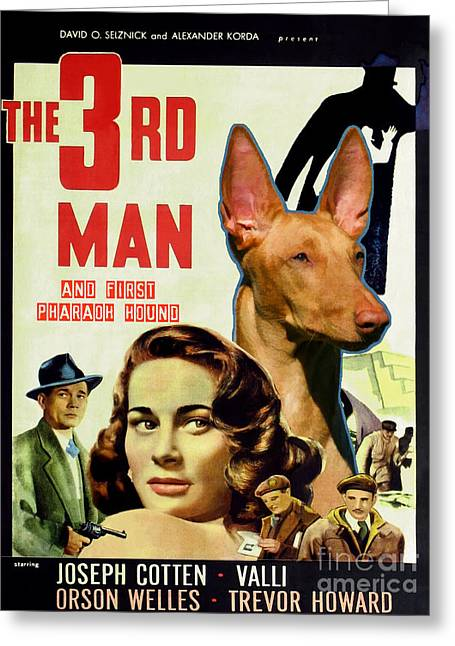 Pharaoh Hound Art Canvas Print - The Third Man Movie Poster Greeting Card by Sandra Sij