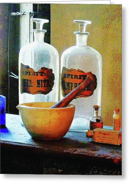 Pharmacist - Mortar And Pestle With Bottles Greeting Card by Susan Savad