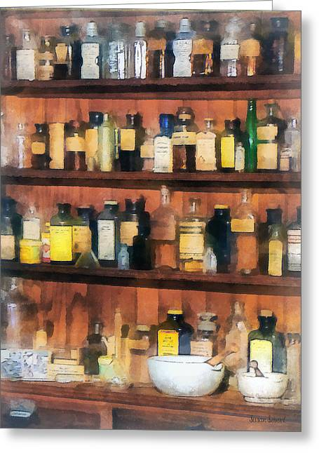 Pharmacist - Mortar Pestles And Medicine Bottles Greeting Card by Susan Savad