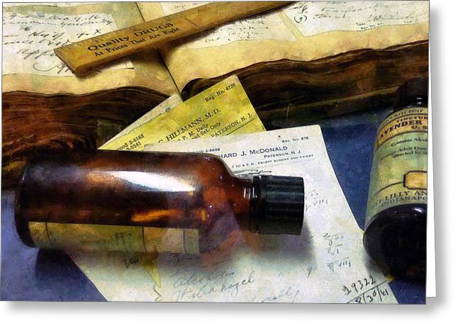 Prescription Greeting Cards - Pharmacist - Prescriptions and Medicine Bottles Greeting Card by Susan Savad