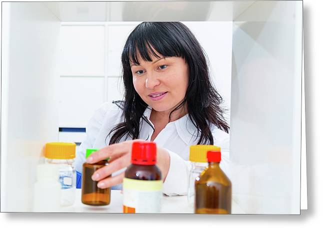 Pharmacist Taking A Bottle From A Shelf Greeting Card