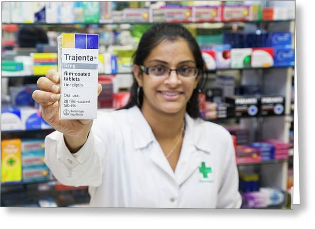 Pharmacist With Diabetes Drug Greeting Card