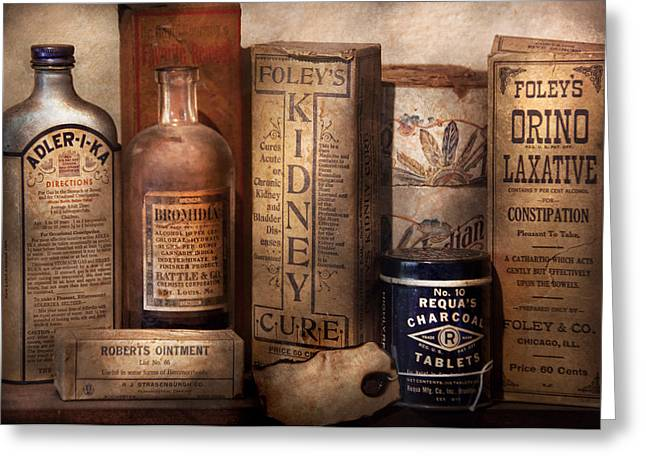 Pharmacy - Cures For The Bowels Greeting Card by Mike Savad