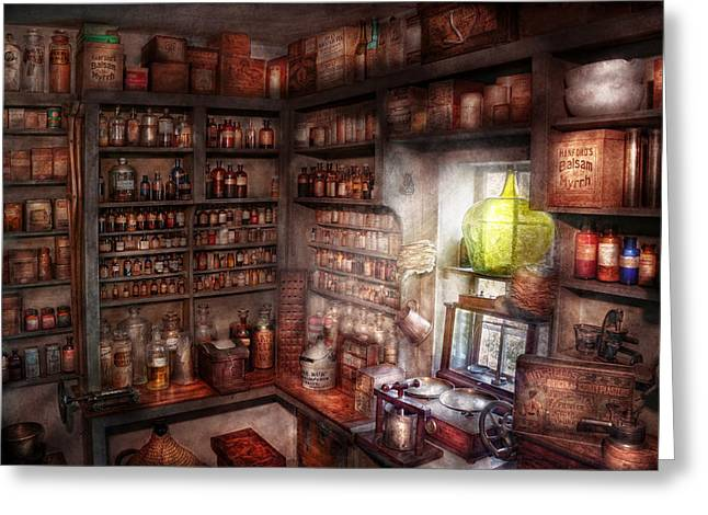 Pharmacy - Equipment - Merlin's Study Greeting Card by Mike Savad