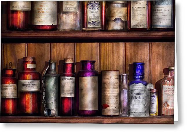 Pharmacy - Ingredients Of Medicine  Greeting Card by Mike Savad