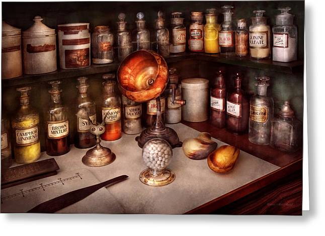 Pharmacy - Items From The Specialist Greeting Card by Mike Savad
