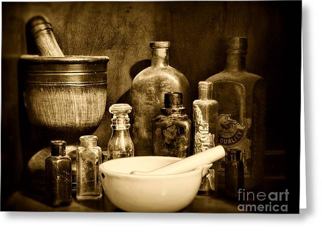 Pharmacy - Tools Of The Pharmacist - Black And White Greeting Card by Paul Ward
