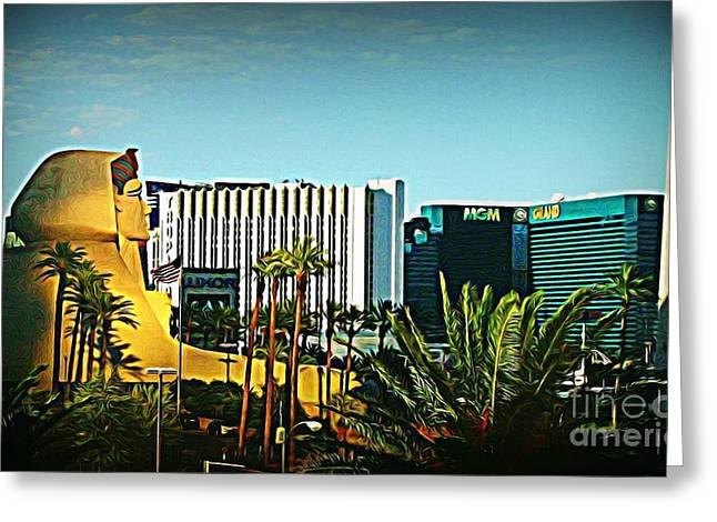 Pharoh Of Vegas Greeting Card by John Malone