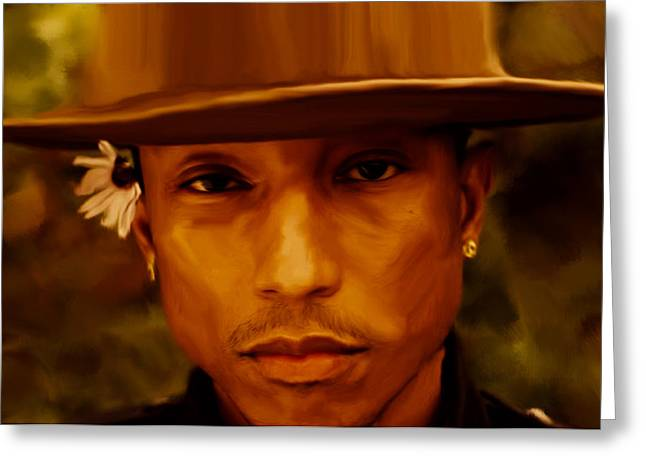 Pharrell Williams Happy Greeting Card by Brian Reaves