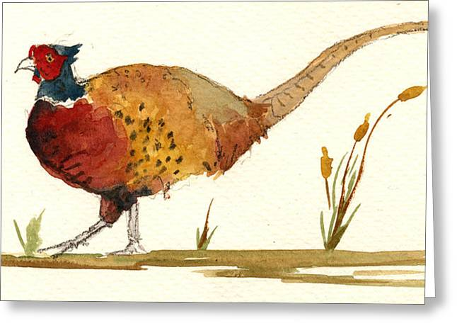 Pheasant Greeting Card by Juan  Bosco
