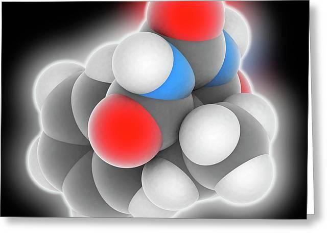 Phenobarbital Drug Molecule Greeting Card by Laguna Design