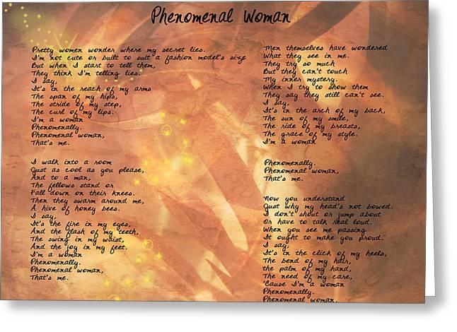 Phenomenal Woman -golden Stars Greeting Card by Paulette B Wright