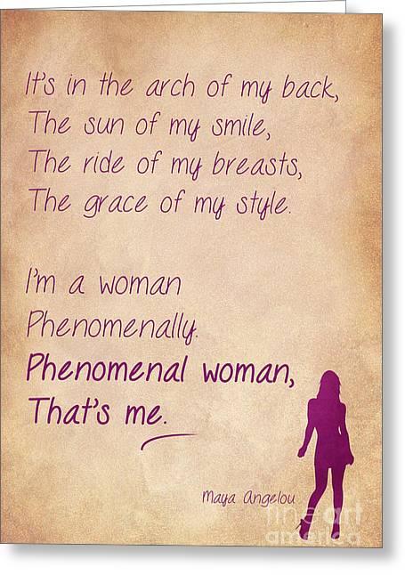 Phenomenal Woman Quotes 3 Greeting Card