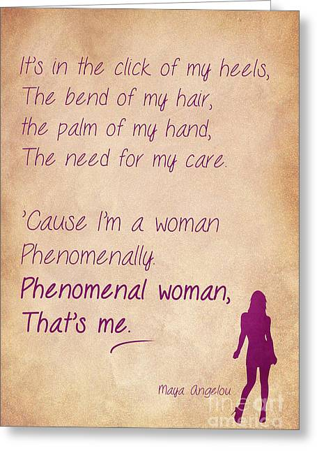 Phenomenal Woman Quotes 4 Greeting Card