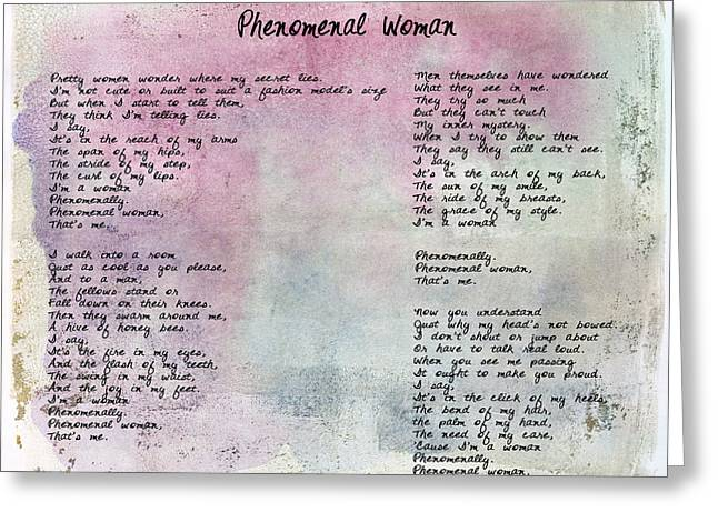 Phenomenal Woman - Watercolor Rustic Greeting Card by Paulette B Wright