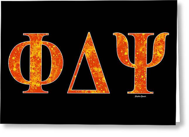 Greeting Card featuring the digital art Phi Delta Psi - Black by Stephen Younts