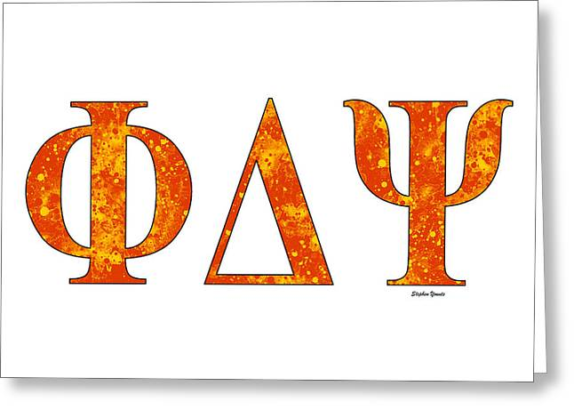 Greeting Card featuring the digital art Phi Delta Psi - White by Stephen Younts