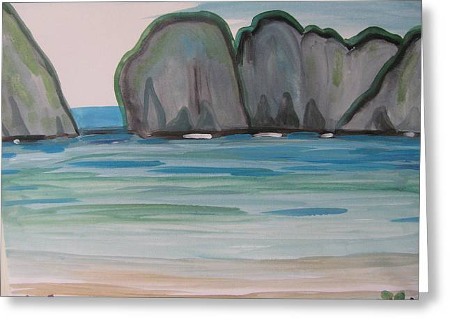 Greeting Card featuring the painting Phi Phi Island by Vikram Singh