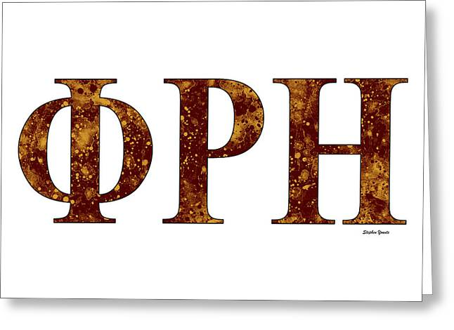 Greeting Card featuring the digital art Phi Rho Eta - White by Stephen Younts