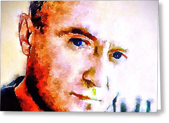 Phil Collins Digital Watercolor Portrait 2 Greeting Card