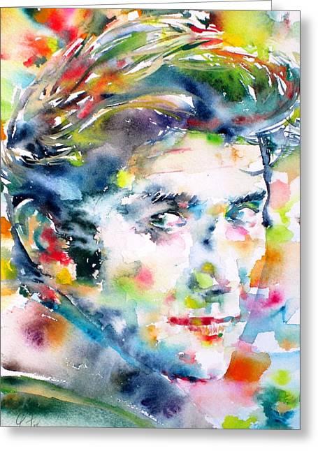 Phil Ochs - Watercolor Portrait Greeting Card by Fabrizio Cassetta