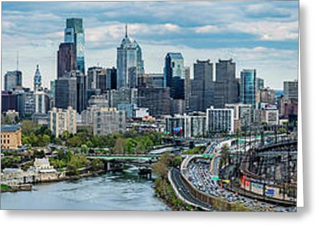 Philadelphia Center City, Schuylkill Greeting Card by Panoramic Images