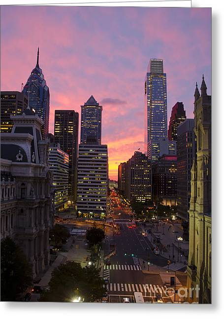 Philadelphia City Center At Sunset Greeting Card by Perry Van Munster