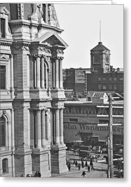 Philadelphia City Hall And Wanamaker Store C 1900 Vintage Photog Greeting Card