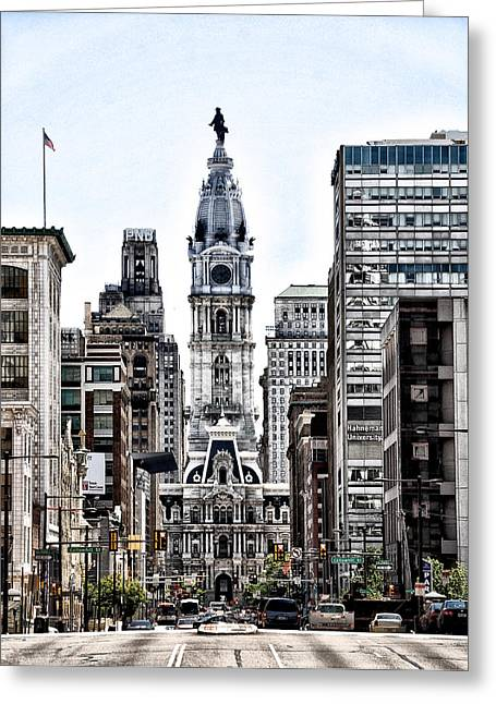 Philadelphia City Hall From North Broad Street Greeting Card by Bill Cannon
