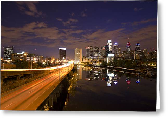 Philadelphia Cityscape From South Street At Night Greeting Card by Bill Cannon