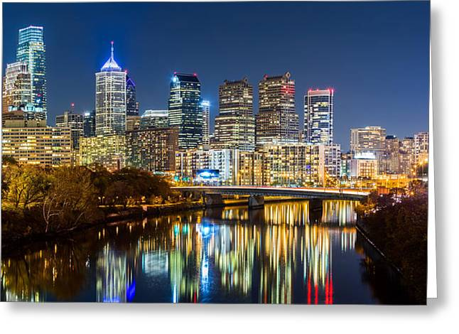 Philadelphia Cityscape Panorama By Night Greeting Card