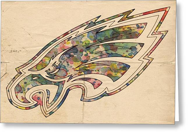 Greeting Card featuring the painting Philadelphia Eagles Poster Vintage by Florian Rodarte