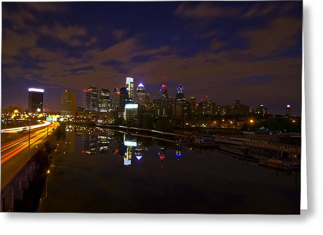 Philadelphia From South Street At Night Greeting Card by Bill Cannon